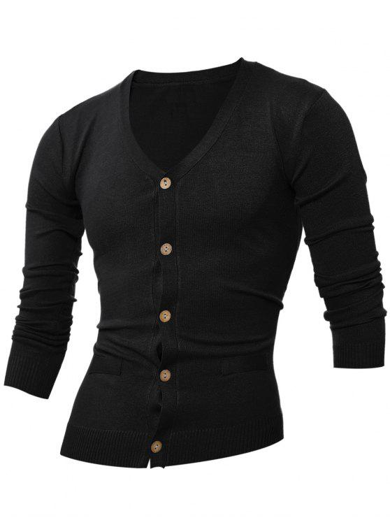 trendy Slimming V Neck Button Up Cardigan - BLACK L
