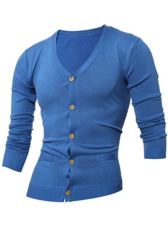 Abnehmen V-Ausschnitt Button Taste Strickjacke - Saphir Blau XL