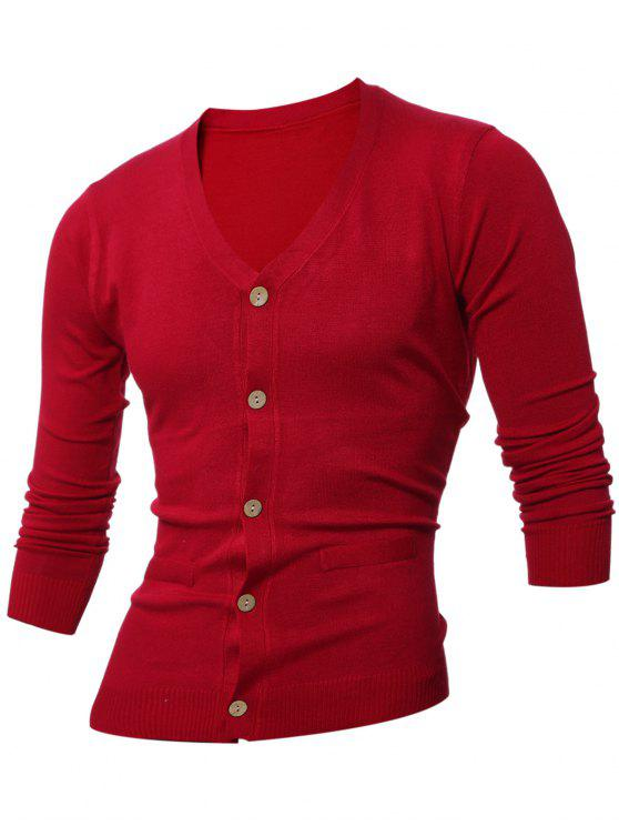 women Slimming V Neck Button Up Cardigan - WINE RED L