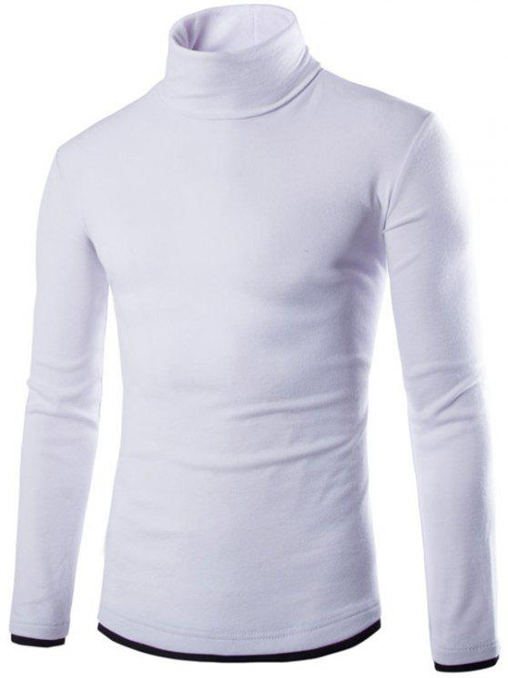 shop Faux Twinset Design High Neck Long Sleeve Knitwear - WHITE M