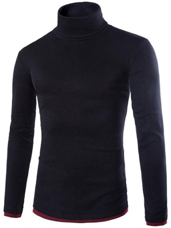 lady Faux Twinset Design High Neck Long Sleeve Knitwear - BLACK L