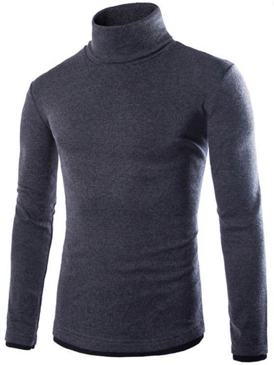 hot Faux Twinset Design High Neck Long Sleeve Knitwear - DEEP GRAY 2XL