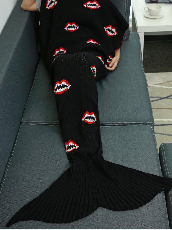 نمط الفم محبوك حورية البحر الذيل بطانية - أسود W31.50inch * L70.70inch
