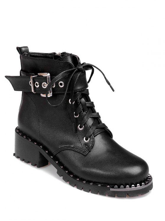 Niete Strap Tie Ankle Boots - Schwarz 38