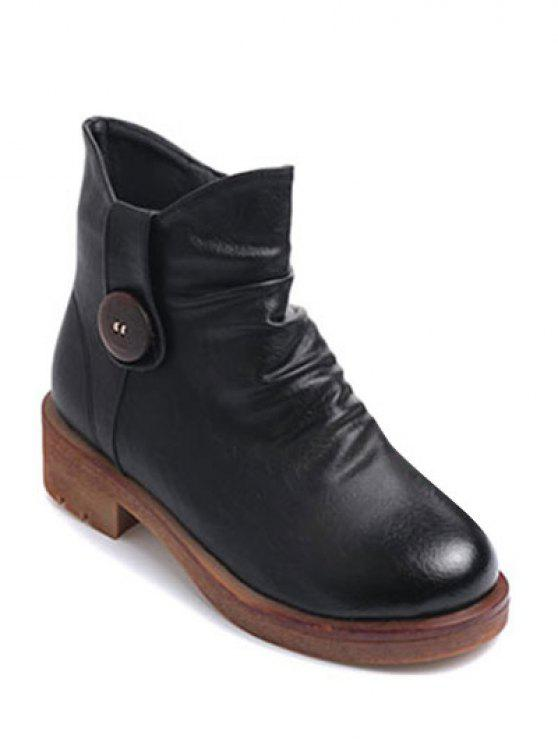 online Button Chunky Heel Zipper Ankle Boots - BLACK 37