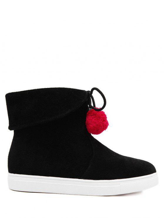 latest Pompon Flat Heel Tie Up Short Boots - BLACK 38