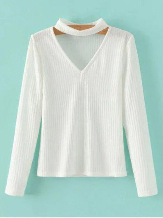 ladies Cutout V Neck Choker Jumper - WHITE S