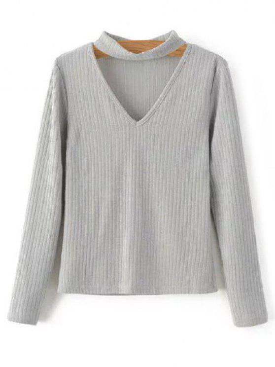 online Cutout V Neck Choker Jumper - GRAY M