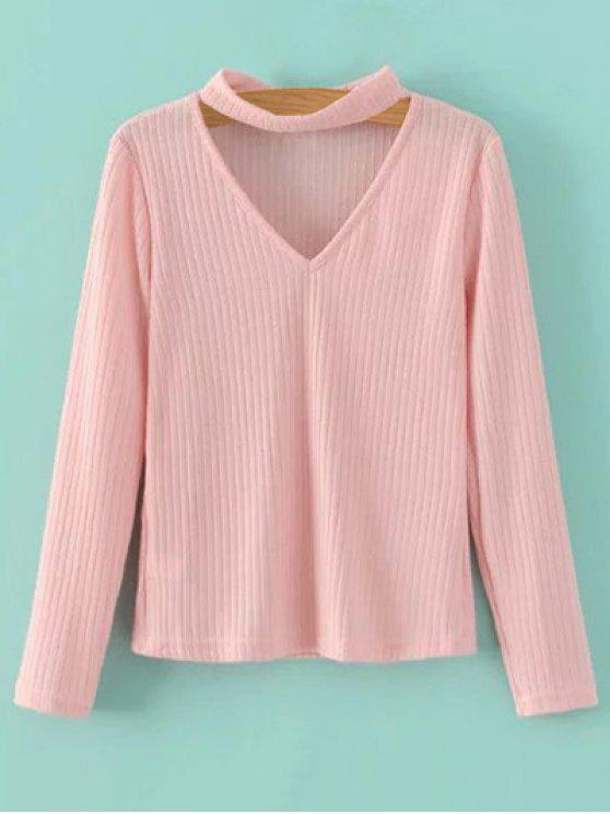 outfits Cutout V Neck Choker Jumper - PINK M