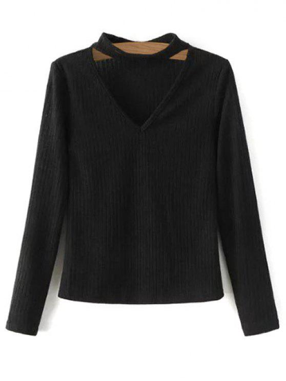 shops Cutout V Neck Choker Jumper - BLACK XL