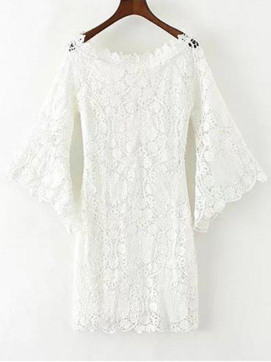 trendy Bell Sleeve Crochet Bodycon Dress - WHITE M