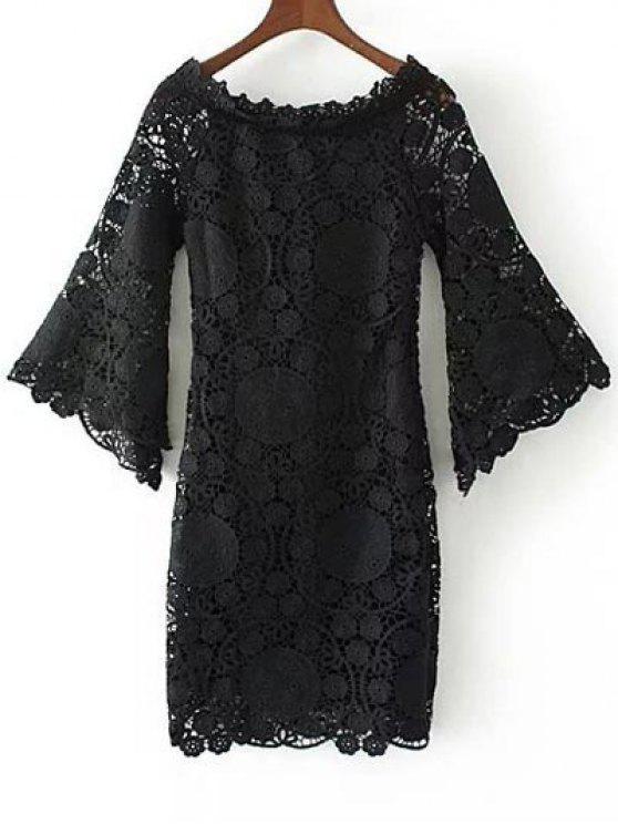 Campana de la manga Vestido ajustado de ganchillo - Negro M
