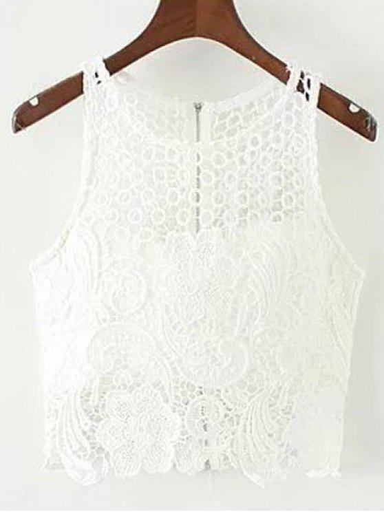 Crochet Flower rembourrée Crop Top - Blanc S