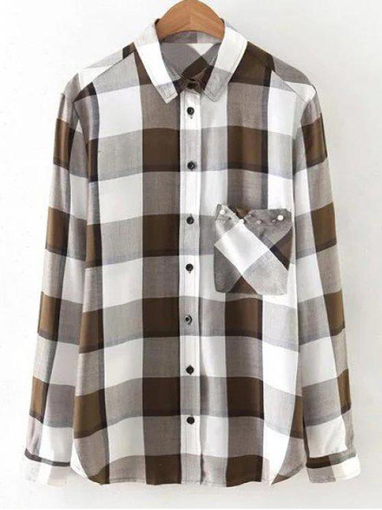 hot Checked Patch Pocket Shirt - WHITE L