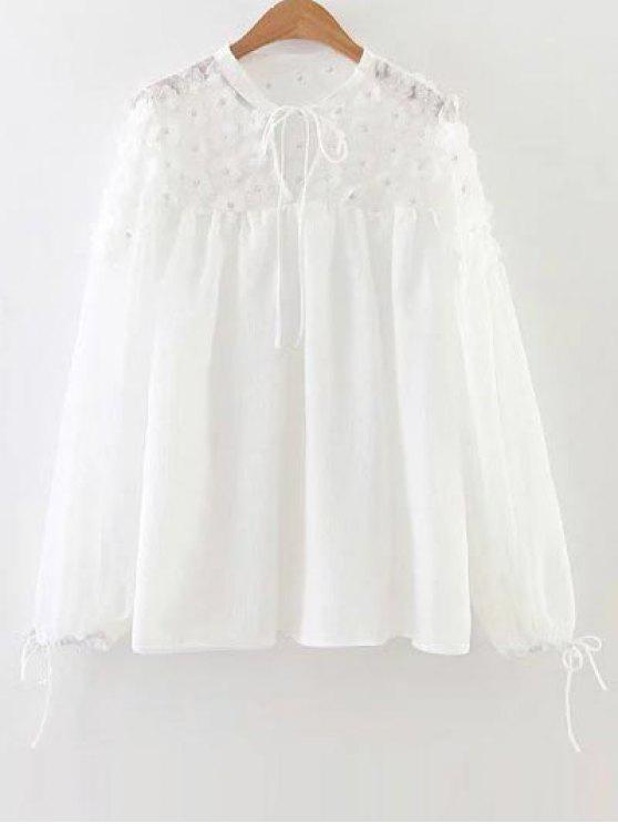 sale Flower Appliqued Blouse - WHITE S