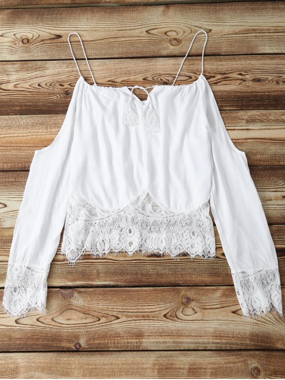 fashion Combined Lace White Crop Top - WHITE S