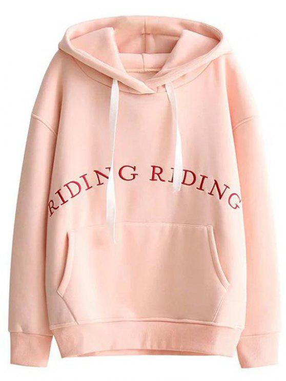 fashion Embroidered Cocoon Hoodie - PINK M