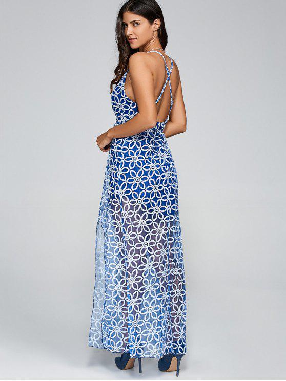 Plunging Neck Criss Back Slit Maxi Dress BLUE: Maxi Dresses S | ZAFUL
