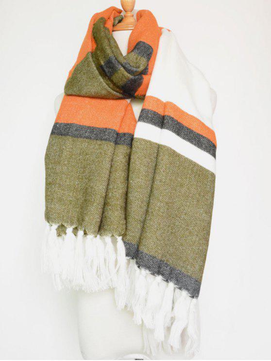 Del bloque del color de la raya de la borla colgante de la bufanda del mantón - Naranja Rosa