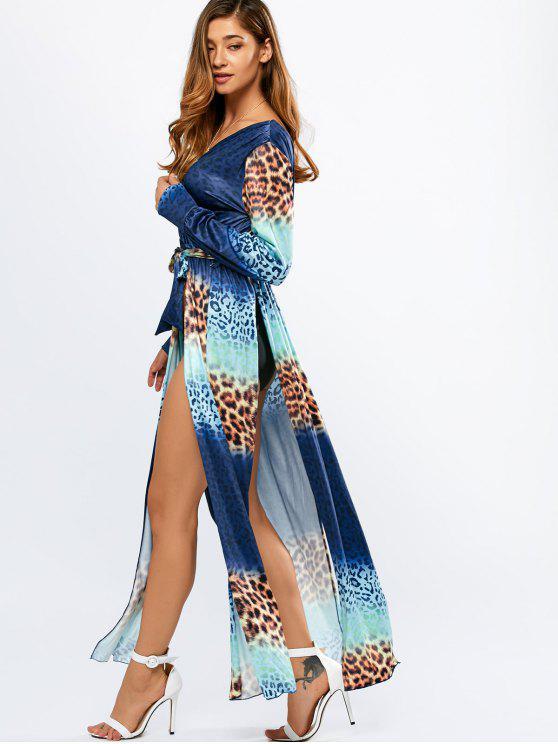 latest Leopard High Slit Ombre Maxi Wrap Dress - COLORMIX S