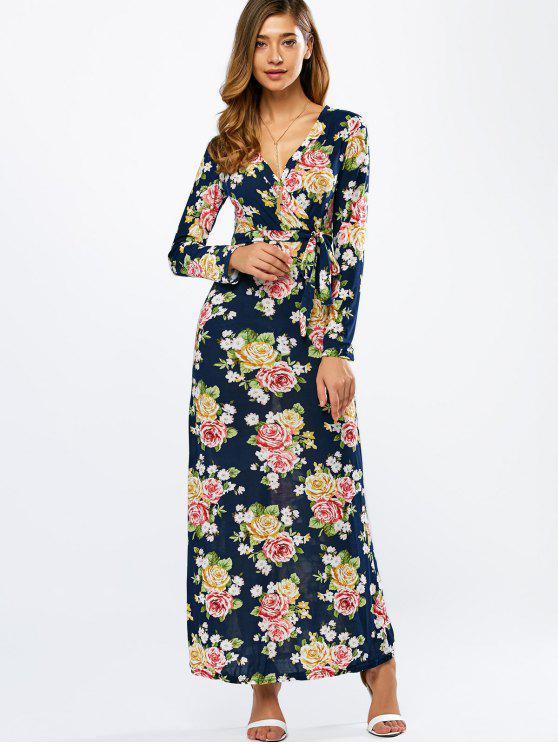 الزهور التفاف فستان ماكسي - الأرجواني الأزرق S