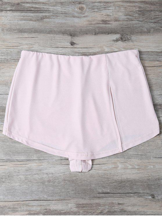 women Slit Culotte Skinny Shorts - SHALLOW PINK 2XL