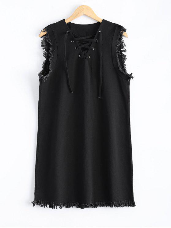 الدانتيل الهاتفي مهدب اللباس - أسود M