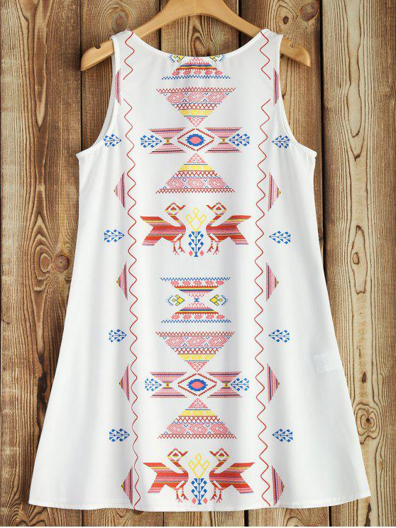 Sleeveless Printed Robe évasée - Blanc S