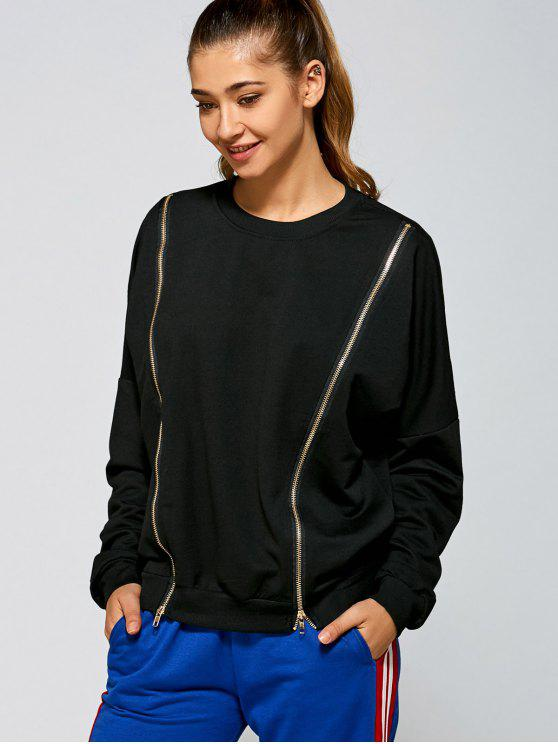 women Zipper Slit Sweatshirt - BLACK ONE SIZE