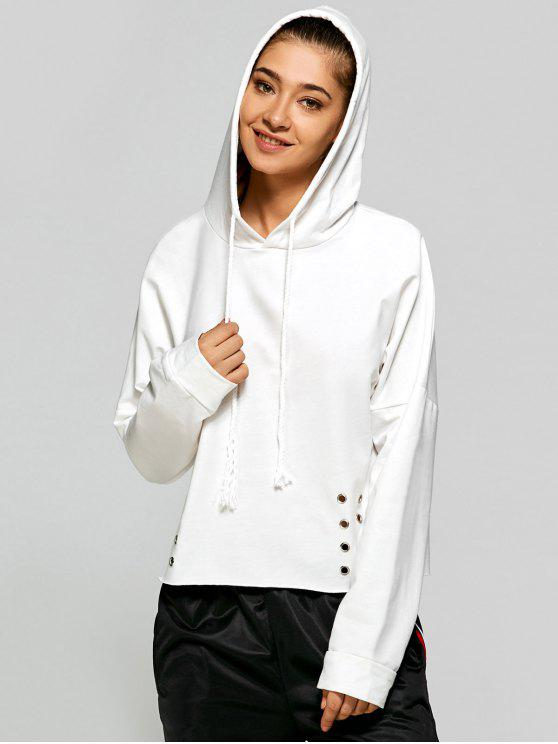 women's Lace Up Pullover Hoodie - WHITE ONE SIZE