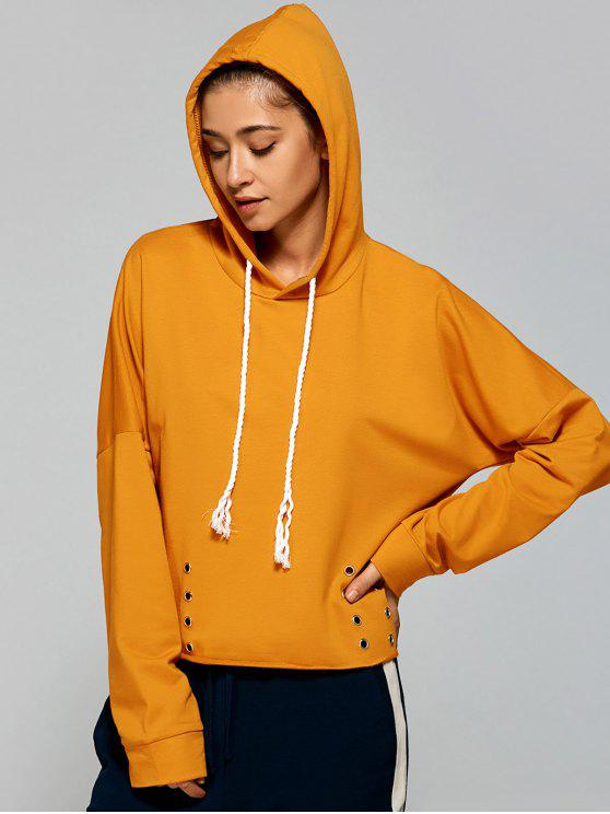 Lace Up Pullover Hoodie YELLOW: Sweatshirts ONE SIZE | ZAFUL