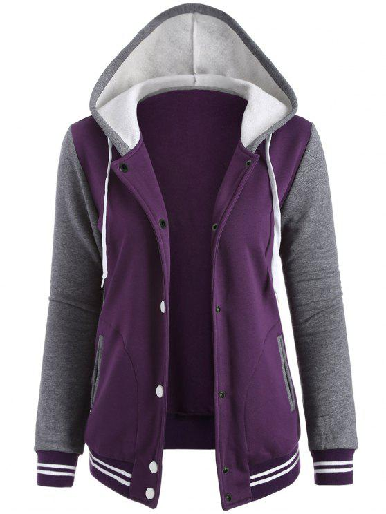 outfits Varsity Baseball Fleece Hoodie Jacket - PURPLE M