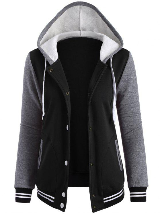 womens Varsity Baseball Fleece Hoodie Jacket - BLACK M