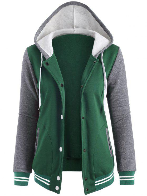 fancy Varsity Baseball Fleece Hoodie Jacket - GREEN L