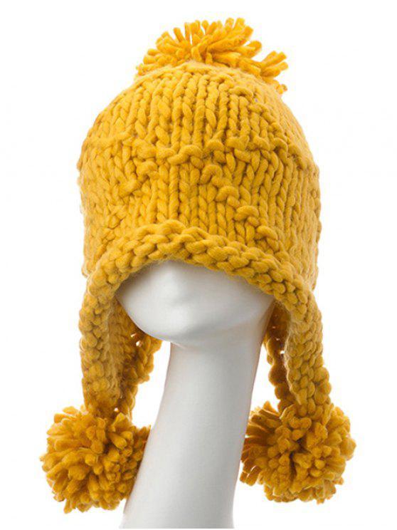 Big Ball Stripy HäkelarbeitBeanie Cap Gelb: Hüte | ZAFUL