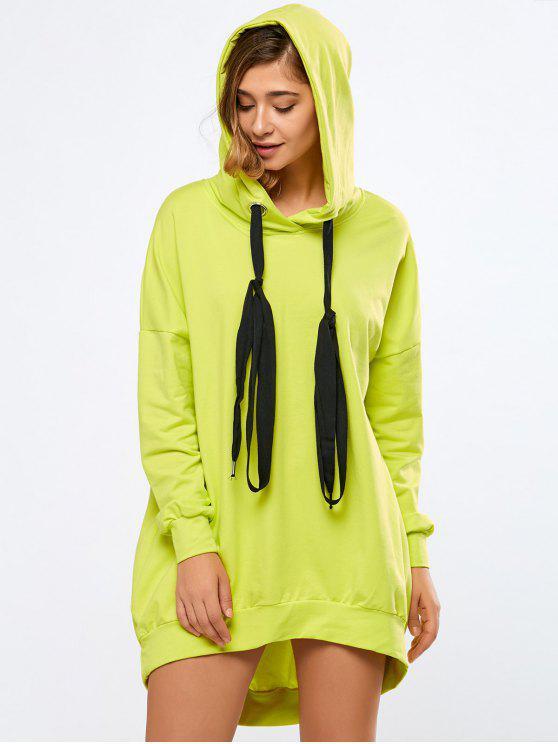 Neon Farbe lange Boyfriend Hoodie - Fluoreszierend Gelb L
