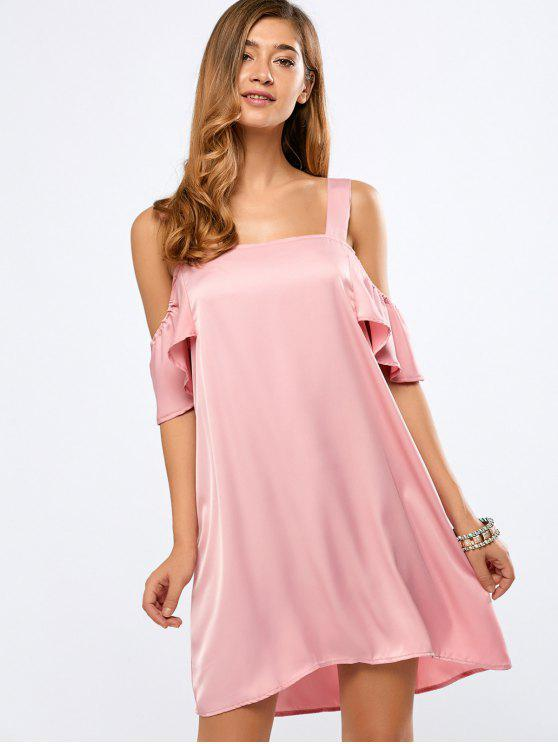lady Ruffles Cami Cold Shoulder Dress - PINK XL