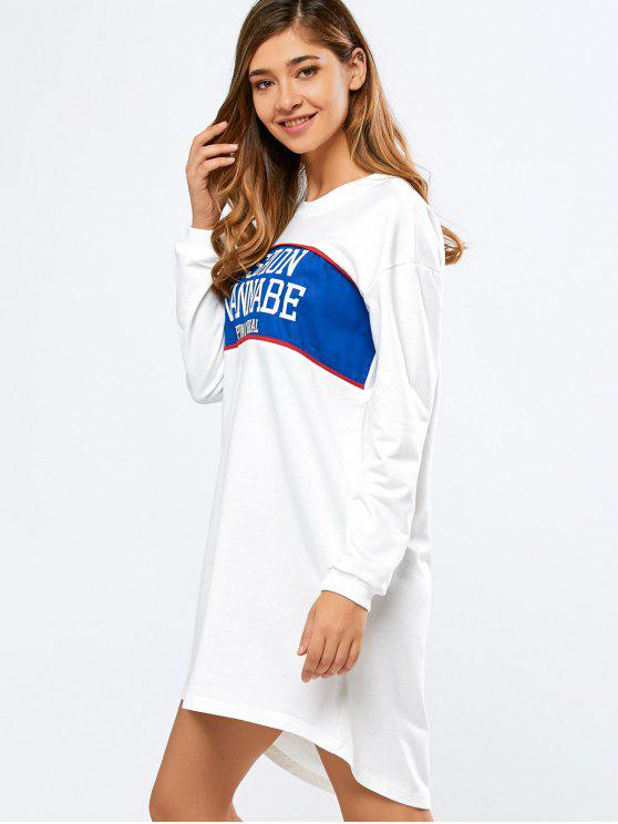 shop Letter Print Long Sleeve Sweatshirt Dress - WHITE S