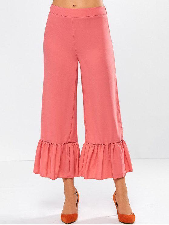 fashion Wide Leg High Rise Pants - RED ORANGE S