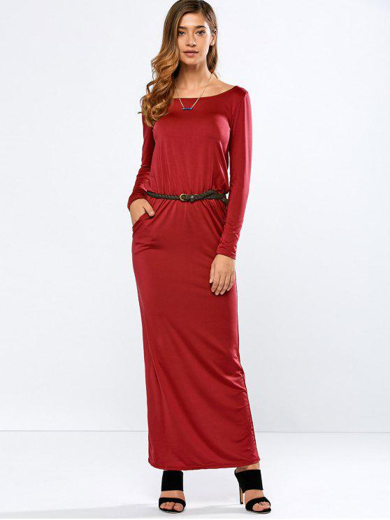 trendy Maxi Belted Dress - RED S