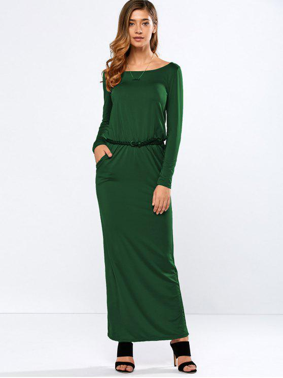 affordable Maxi Belted Dress - GREEN L