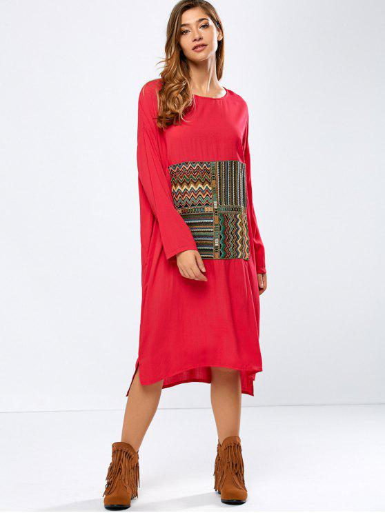 Vestido bordado de mayor a menor - Rojo XL