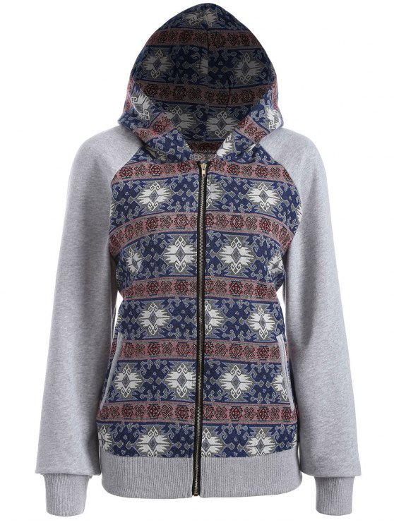 Zip Up Jacquard Tribal Hoodie - Multicolore M