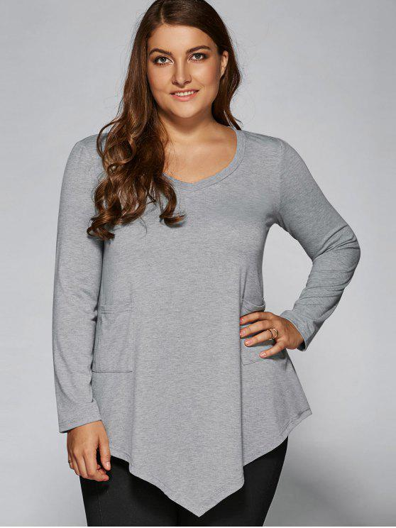 unique Plus Size Asymmetric One Pocket Blouse - LIGHT GRAY XL