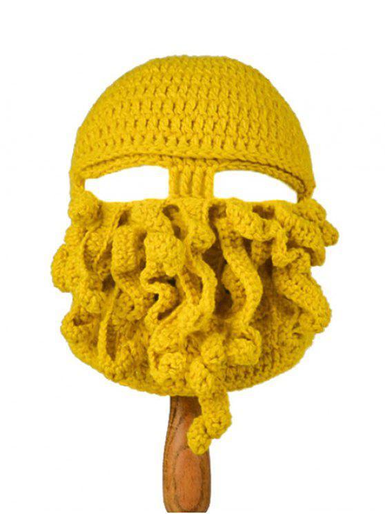 trendy Tentacle Octopus Shape Crochet Mask Hat - YELLOW