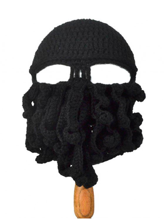 fashion Tentacle Octopus Shape Crochet Mask Hat - BLACK