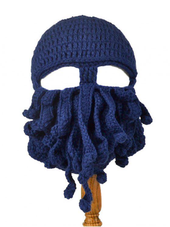 Motif Tentacle Octopus Crochet Mask Hat - Bleu Cadette