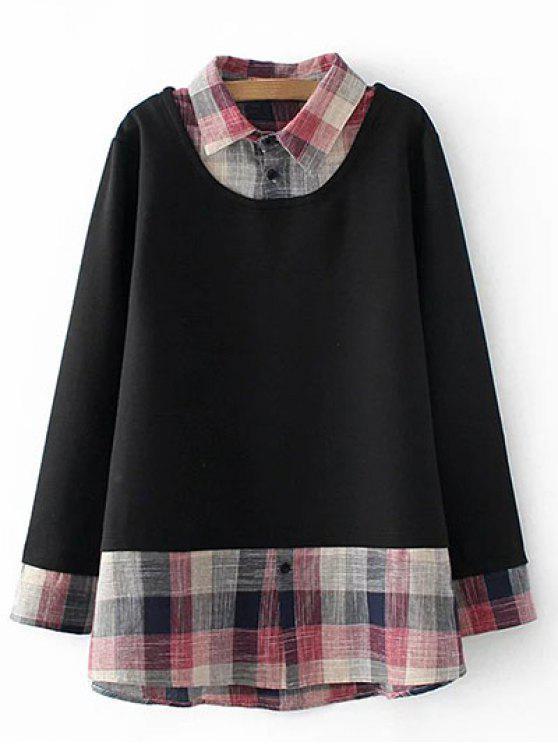 Más el tamaño de imitación en capas con capucha - Negro 2XL