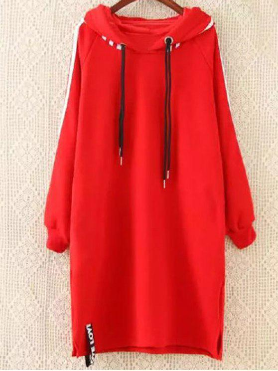 unique Plus Size Tape Sleeve Hoodie Dress - RED XL