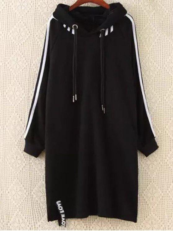 sale Plus Size Tape Sleeve Hoodie Dress - BLACK 3XL